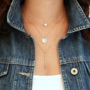 Layered Crystal, Coin, & Bar Necklace